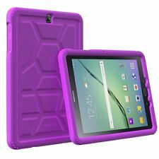 """For Galaxy Tab S2 Case 9.7"""" Tablet Rugged Schockproof Silicone Cover Purple"""