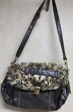 GAL shoulder purse brown with faux fur flap new with tags