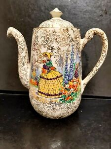 """""""Crinoline Lady"""" Gold Chintz Adderley Repent St  Coffee Pot  England 1930s 8 In"""