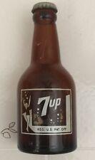 Vintage Amber 7 UP Soda Bottle