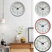 UK 12'' Wall Clock Glow In The Dark Silent Quartz Indoor/Outdoor Noctilucent