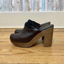 Rachel Comey 9.5 Brown Leather Wooden Idolon High Platform Mule Clog Heels $450