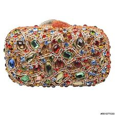 WOMEN'S BEJEWELED ENCRUSTED RECTANGULAR HARD SHELL CLUTCH #GOLD #561077-030