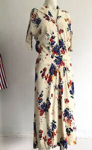 Vintage 1930s 40s Colorful & Bright Floral Rayon Jersey Midi Day Dress Ruching