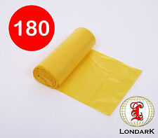 180 Flat Top Bin Liners Refuse Waste Sack bag (small: 50cm x 70cm) Yellow