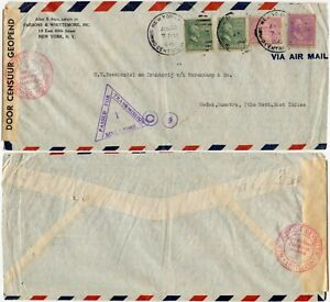 SINGAPORE WW2 CENSOR TRIANGLE No.1 1940 USA to MEDAN NETH.INDIES NEI TAPE + C 9