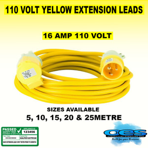 110V YELLOW EXTENSION LEAD SITE POWER LIGHTS TOOLS HOOK UP PLUG & SOCKET 5-25M
