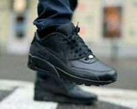 New NIKE Air Max 90 Leather Athletic Sneaker retro Mens triple black all sizes