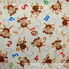 BonEful FABRIC Cotton Quilt Brown Baby Monkey Number Math School Teacher L SCRAP