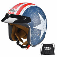AHR RUN O5 3/4 Motorcycle Helmet DOT Approved Vintage Sun Visor Trip Size L