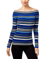 INC Womens Reversible Off-The-Shoulder Striped Sweater (Goddess Blue, Large)