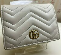 Authentic GUCCI GG Mermont Business Card holder Card Case PVC x Leather 443125