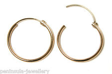 9ct Gold 17mm Half Hinged Hoop Sleeper Earrings