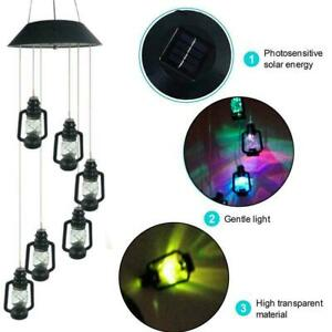 Hanging Wind Chimes Solar Powered Colour Changing LED Garden Lights T0Y1