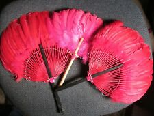 Used Lot 3 Hand Held Goose Feather Fans - Non-folding - Dance Props - Red & Pink