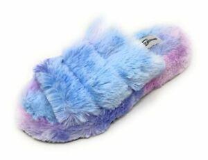 Womens Slippers Open Toe Faux Fur Warm Fuzzy Three Band Slide Cotton Candy NIB