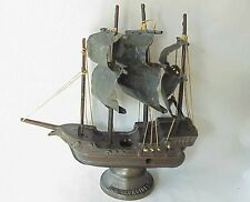 Antique Old Iron Sides Clipper Ship Heavy Bronze Lamp