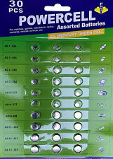 30 Assorted Mixed Powercell Button Batteries 377 AG1 AG3 AG4 AG10 AG12 AG13