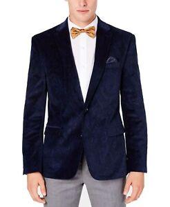 Bar III Mens Suit Separate Blue Size 42 Short Velvet Slim Blazer $295 029