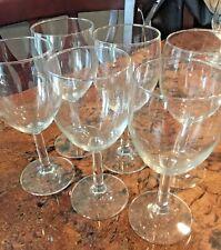 """Vintage Set of 6 Stemmed Wine Glasses ~7"""" Tall"""