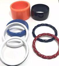 Fashion Lot Of 7 Plastic Multi Color Bangle Bracelets Assorted Designs
