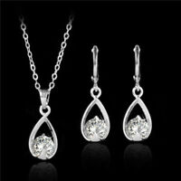 Women Jewelry Set Bridal Wedding 8 Shape Crystal Rhinestone Necklace Earrings
