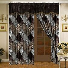 8 pc Black Brown Zebra Giraffe Curtains Panels Drapes Valance Sheer Set 84 inch