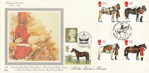 (61774) DOUBLED GB Fourpenny FDC All the Queens Horses Windsor Great Park 1997