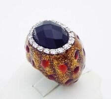 MASSIVE!!! C^A Black Onyx & CZ Ring in Sterling Silver Enamel Finish Size 6.75
