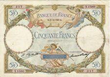 50 FRANCS LUC ET OLIVIER MERSON B 27/12/1927 6  épinglages cote 250 euro  TTB