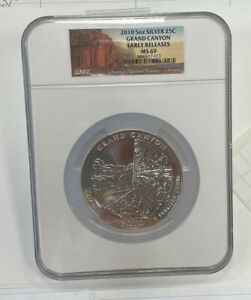 2010 5 OZ SILVER GRAND CANYON  NP QUARTER NGC  MS69  EARLY RELEASES MS 69