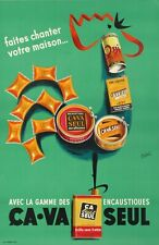 1950s Vintage Poster - Béric - Ca va seul - Crowing Rooster - Floor Wax Polish