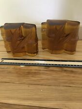 Blenko Amber Glass Bookends Bamboo One Chipped See Photos