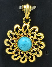 Handmade Vintage 18K Gold Plated Pendant Large Flower with Genuine Turquoise