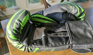 Century Youth Brave Hook and Loop Training Boxing Gloves - 6 oz. - Black Green
