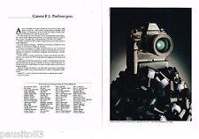 PUBLICITE ADVERTISING 055  1983  CANON F.1 appareil photo  moteur AEFN  ( 2 pa)
