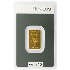 5g 5 g 5 Gramm Goldbarren Heraeus Kinebar Feingold  mit Zertifikat in Blister