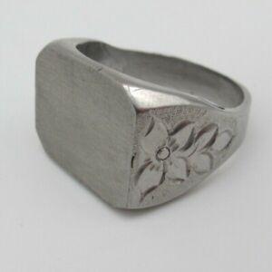Vtg Blank Engravable Stainless Steel Silver Tone Men's Signet Ring Size 10.5