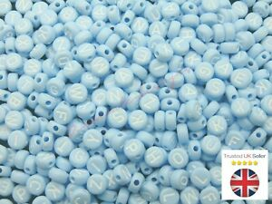 7mm Baby Blue Round Letter Coin Beads Jewellery Kids Craft Beading UK ML