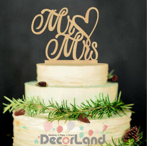 Wooden Rustic Wedding Cake Topper Mr & Mrs Wedding Engagement Party Decoration