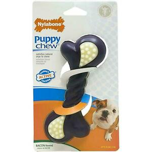 Nylabone Bacon Puppy Double Action Chew, Large, Soft & Durable Nylon - Teething