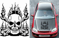 "24"" fire skull vinyl decal sticker car hood door skateboard racing wall jdm"