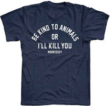 Morrissey-(The Smiths)-Be Kind To Animals Or I'll Kill You-Large Navy  T-shirt