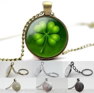 Four - Leaf Clover - Photo Glass Dome Cabochon Necklace, Pendant, Key Ring