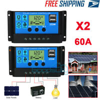 2PC 60A MPPT Solar Panel Regulator Charge Controller Auto Focus Tracking 12V-24V