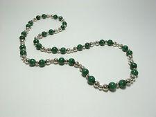 Tiffany Sterling Malachite Beads Necklace Rare Vintage