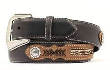 Nocona Southwestern Men's Leather Belt with Inlaid Weaving - Black - 42 NWT