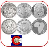 African Lion: 2015 Burundi, 2016 Congo & 2017 Chad 1 oz Silver Coins in airtites