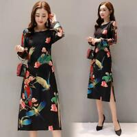 Retro Womens Floral Printing Dress Scoop Split Retro Long Qipao Casual Slim Gown