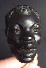 Statuette Tête d'homme noir en bois sculpté 19e siècle pommeau de canne  statue